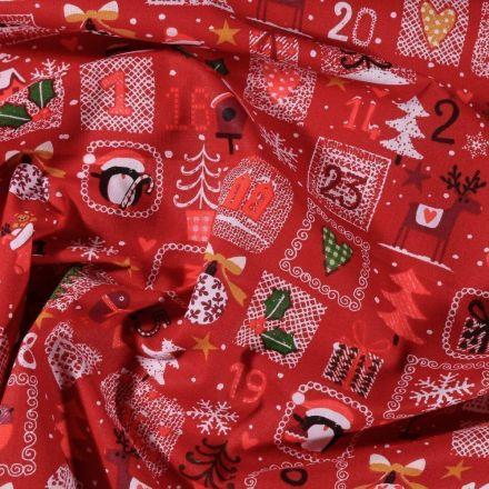 Tissu Coton imprimé Arty Calendrier de l'avent sur fond Rouge - Par 10 cm