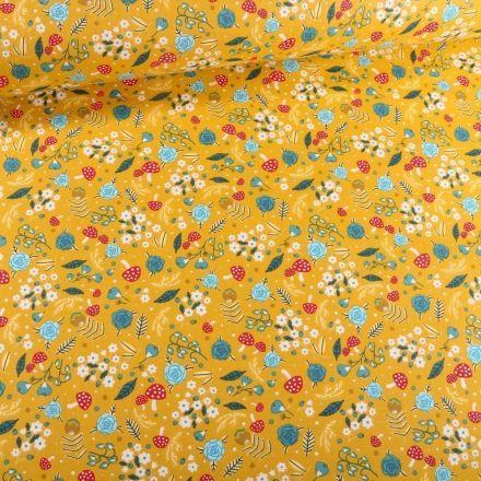 Tissu Coton imprimé Arty Balade champêtre sur fond Jaune - Par 10 cm