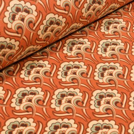 Tissu Coton imprimé Arty Arabesques fleurs sur fond Orange - Par 10 cm