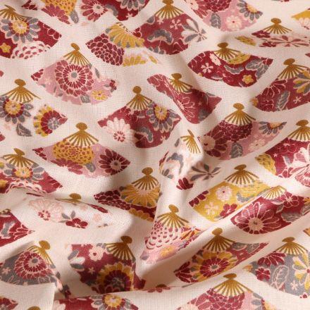 Tissu Coton imprimé Arty Éventails bordeaux ocre sur fond Blanc cassé - Par 10 cm