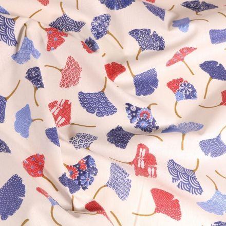 Tissu Coton imprimé Arty Ginkgo bleus sur fond Blanc - Par 10 cm
