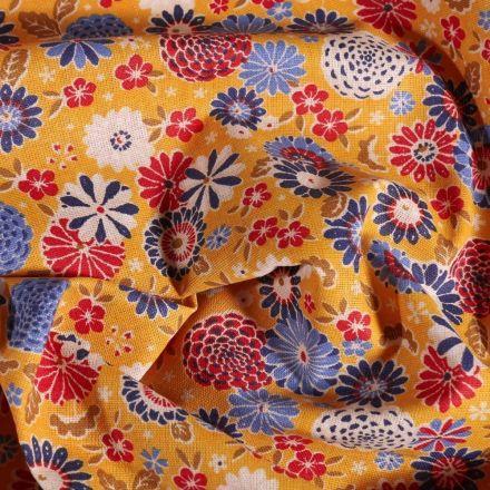 Tissu Coton imprimé Arty Fleurs sur fond Jaune - Par 10 cm