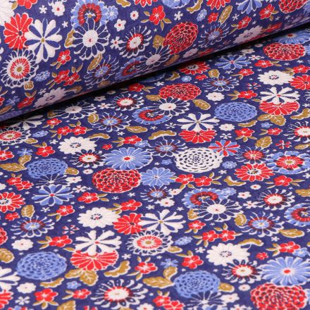 Tissu Coton imprimé Arty Fleurs Vintages sur fond Bleu roi