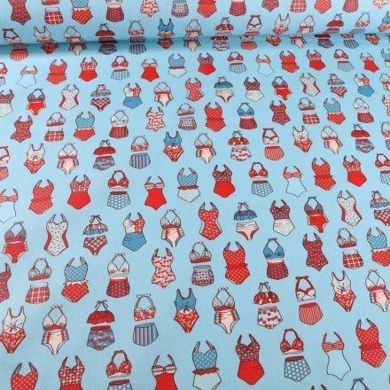Tissu Coton enduit Maillots de bain sur fond Bleu - Par 10 cm