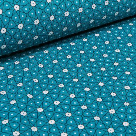 Tissu Coton imprimé Arty Etoiles et pois sur fond Bleu pétrole - Par 10 cm