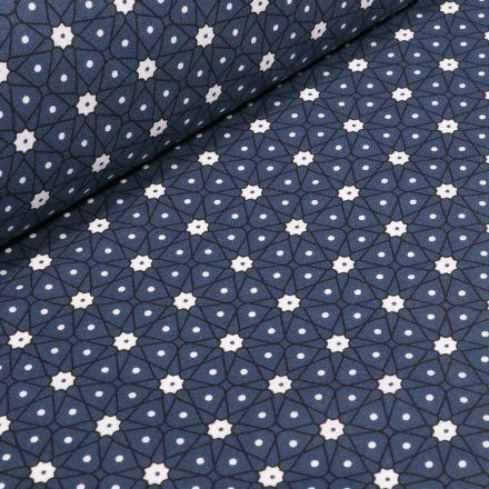 Tissu Coton imprimé Arty Etoiles et pois sur fond Bleu marine - Par 10 cm