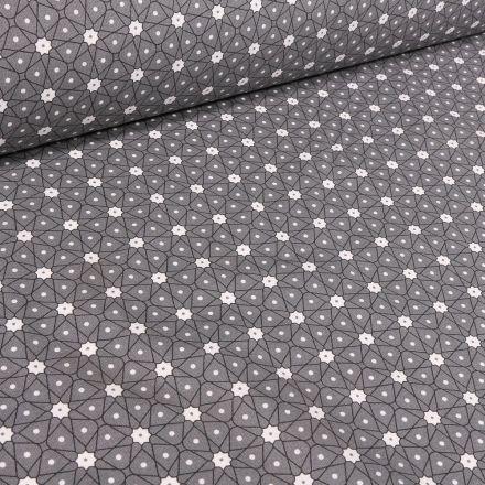 Tissu Coton imprimé Arty Etoiles et pois sur fond Gris foncé - Par 10 cm