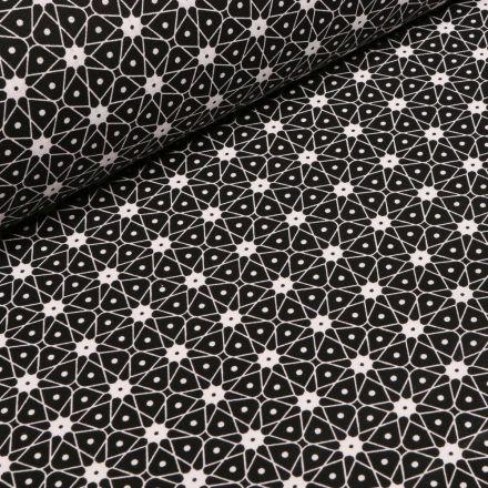 Tissu Coton imprimé Arty Etoiles et pois sur fond Noir - Par 10 cm