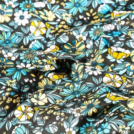 Tissu Coton imprimé Arty Bouton d'or jaune et bleu sur fond Noir - Par 10 cm