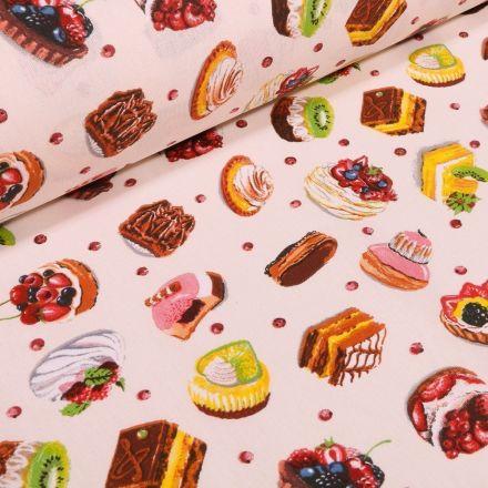Tissu Coton imprimé Arty Pâtisserie sur fond Beige - Par 10 cm