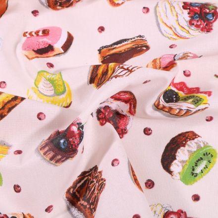 Tissu Coton enduit Pâtisserie sur fond Blanc cassé - Par 10 cm