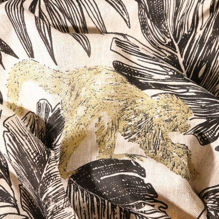 Tissu Lin d'ameublement Feuilles noires et singes dorés sur fond Naturel - Par 10 cm