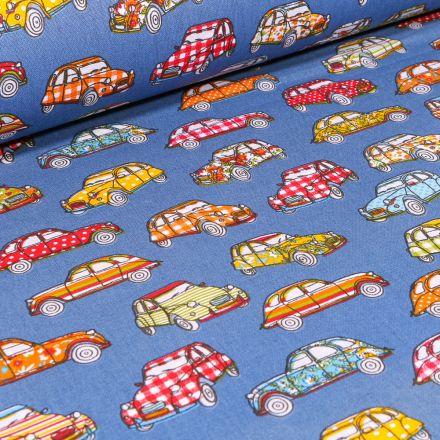 Tissu Coton imprimé Arty Dedeuche sur fond Bleu