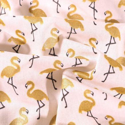Tissu Coton imprimé Arty Flamants dorés sur fond Ecru - Par 10 cm