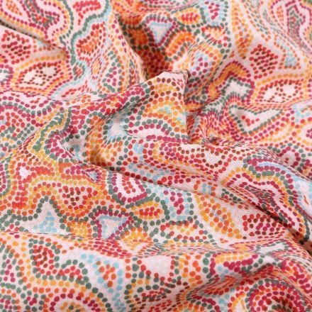 Tissu Coton imprimé Arty Pointillés colorés sur fond Blanc - Par 10 cm