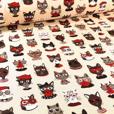 Tissu Toile Coton Funny Cat sur fond Naturel - Par 10 cm