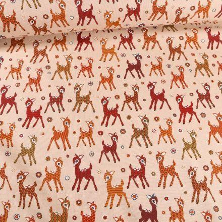 Tissu Toile Coton  Bambi coloré sur fond Naturel - Par 10 cm