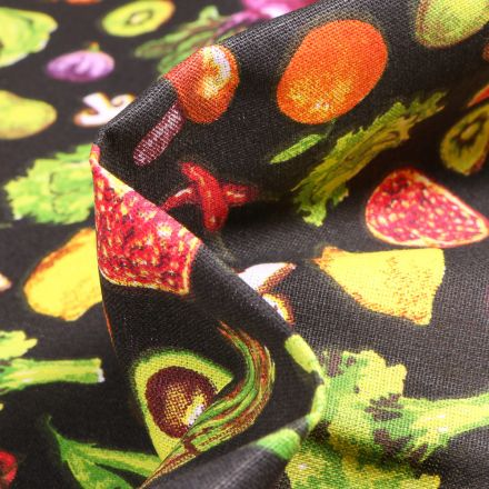 Tissu Coton imprimé Arty Fruits et légumes sur fond Noir