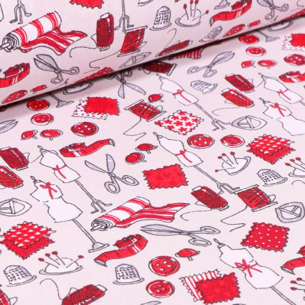 Tissu Coton imprimé Arty Accessoires de couture Rouge sur fond Beige clair
