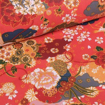 Tissu Coton imprimé Fleurs Japonaises sur fond Corail - Par 10 cm