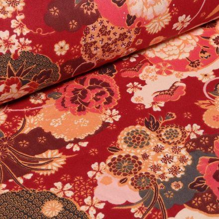 Tissu Coton imprimé Fleurs Japonaises sur fond Rouge - Par 10 cm