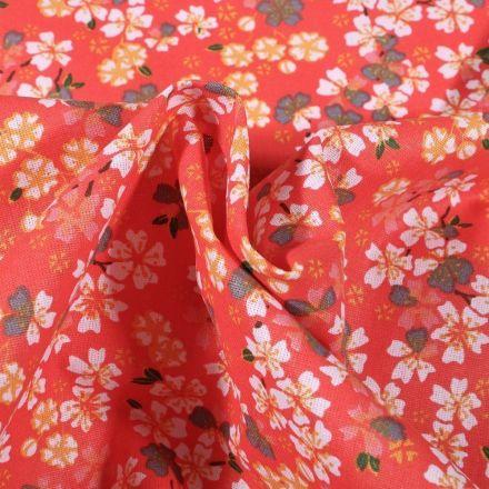 Tissu Coton imprimé Arty Fleurs de Sakura sur fond Orange - Par 10 cm