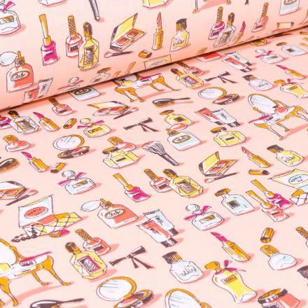 Tissu Coton enduit Make-up sur fond Saumon