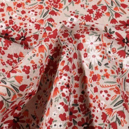 Tissu Toile Coton Fleuris bordeaux et orange sur fond Naturel - Par 10 cm