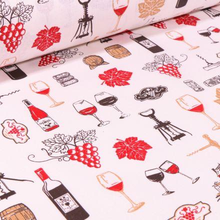 Tissu Coton imprimé Vignobles sur fond Blanc