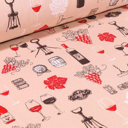 Tissu Coton imprimé Vignobles sur fond Beige