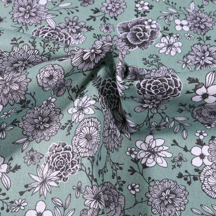 Tissu Coton imprimé Arty Fleurs black & white sur fond Vert d'eau - Par 10 cm