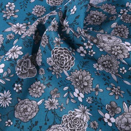 Tissu Coton imprimé Arty Fleurs black & white sur fond Bleu pétrole - Par 10 cm