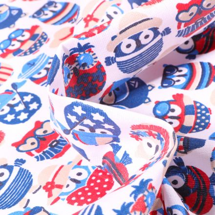 Tissu Coton enduit Hiboux summer Navy sur fond Blanc