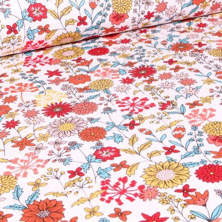 Tissu Coton imprimé Arty Valentine sur fond Blanc