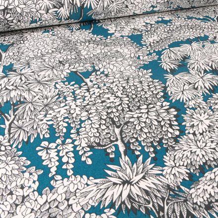Tissu Toile de Coton Végétations Black & White sur fond Bleu pétrole
