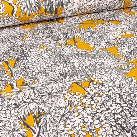 Tissu Toile de Coton Végétations Black & White sur fond Jaune curry