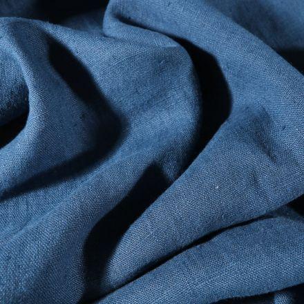 Tissu Lin lavé d'ameublement Bleu pétrole - Par 10 cm