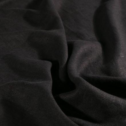 Tissu Lin lavé d'ameublement Noir - Par 10 cm