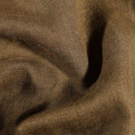 Tissu Lin lavé d'ameublement Vert kaki - Par 10 cm