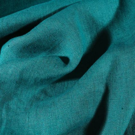 Tissu Lin lavé d'ameublement Vert canard - Par 10 cm