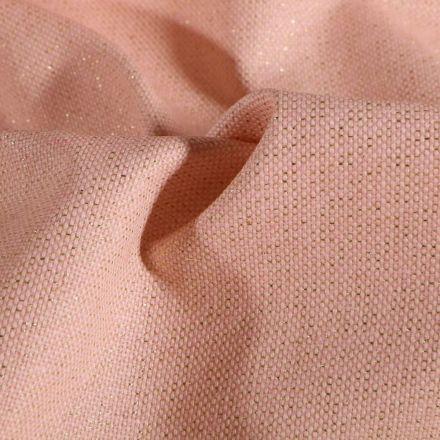 Tissu Toile de coton Enduit Lurex uni Cubex Or Rose - Par 10 cm