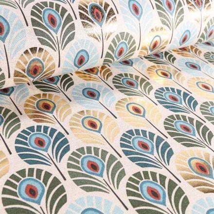 Tissu Toile de Coton Plumes de Paons Métallisées Bleu canard et dorées sur fond Beige - Par 10 cm