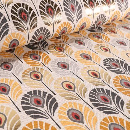 Tissu Toile de Coton Plumes de Paons Métallisées jaunes, grises et dorées sur fond Beige - Par 10 cm
