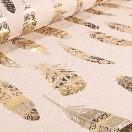 Tissu Toile de Coton Plumes Métallisées Or sur fond Beige - Par 10 cm