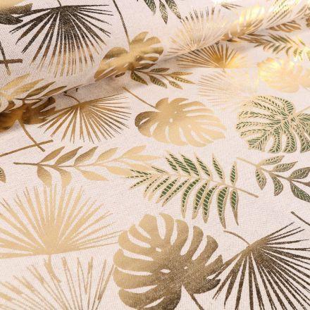 Tissu Toile de Coton Feuilles de palmiers Métallisées Vertes et dorés sur fond Beige - Par 10 cm