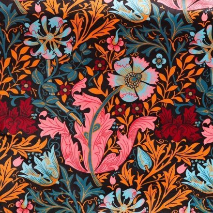 Tissu Velours ras tout doux Motifs Floraux Roses, oranges et bleus sur fond Noir - Par 10 cm