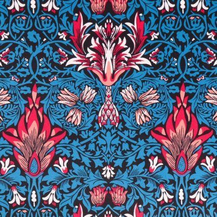 Tissu Velours ras épais tout doux Motifs Floraux Oranges, rouges et blancs sur fond Bleu et noir - Par 10 cm