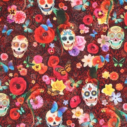 Tissu Velours ras épais tout doux Têtes de mort et fleurs multicolores sur fond Noir et orange - Par 10 cm