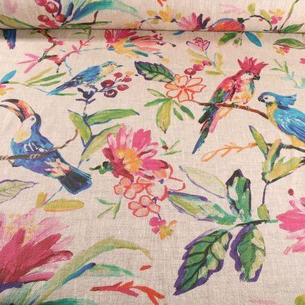 Tissu Lin d'ameublement Fleurs et perroquets sur fond Naturel - Par 10 cm