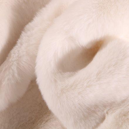 Tissu Fausse fourrure épaisse toute douce Blanc cassé - Par 10 cm